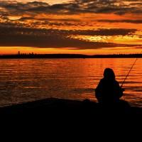 orange sunset fishing lake washington