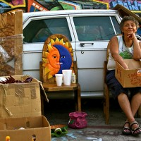 woman having street sale
