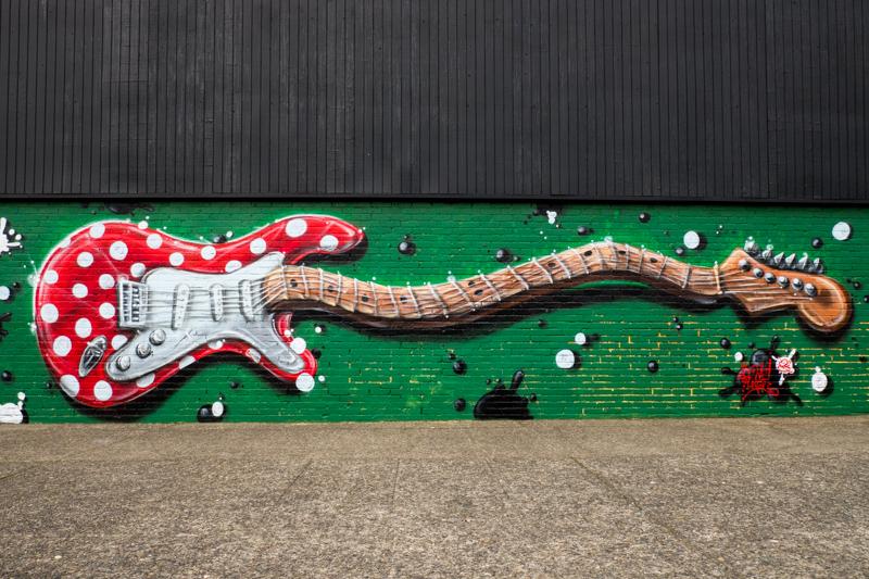 Fender guitar mural