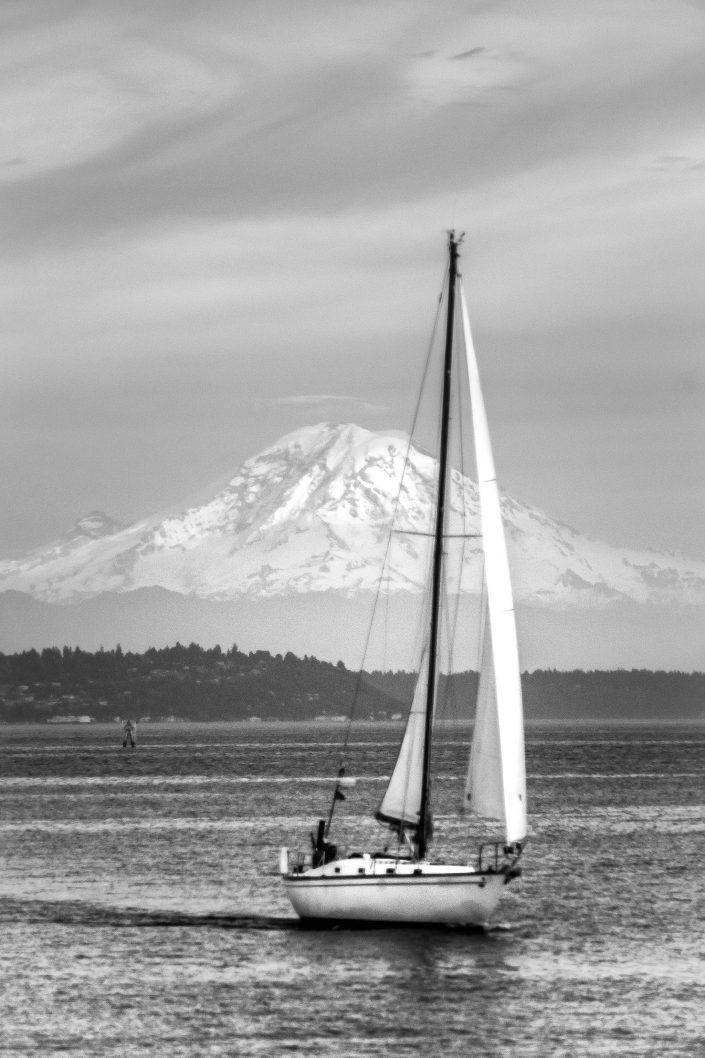 Rainier, mount rainer, puget sound, sailboat