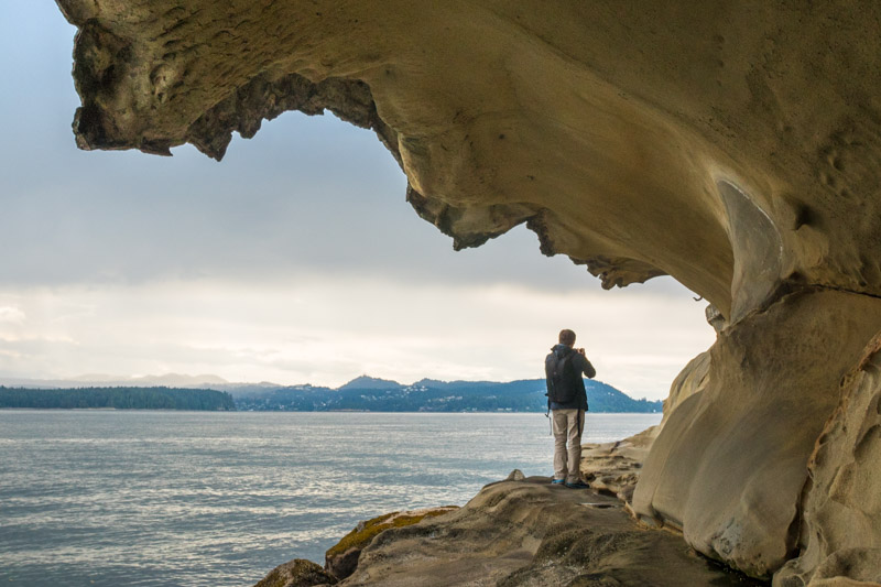 sandstone rock formation at Malaspina Galleries, British Columbia