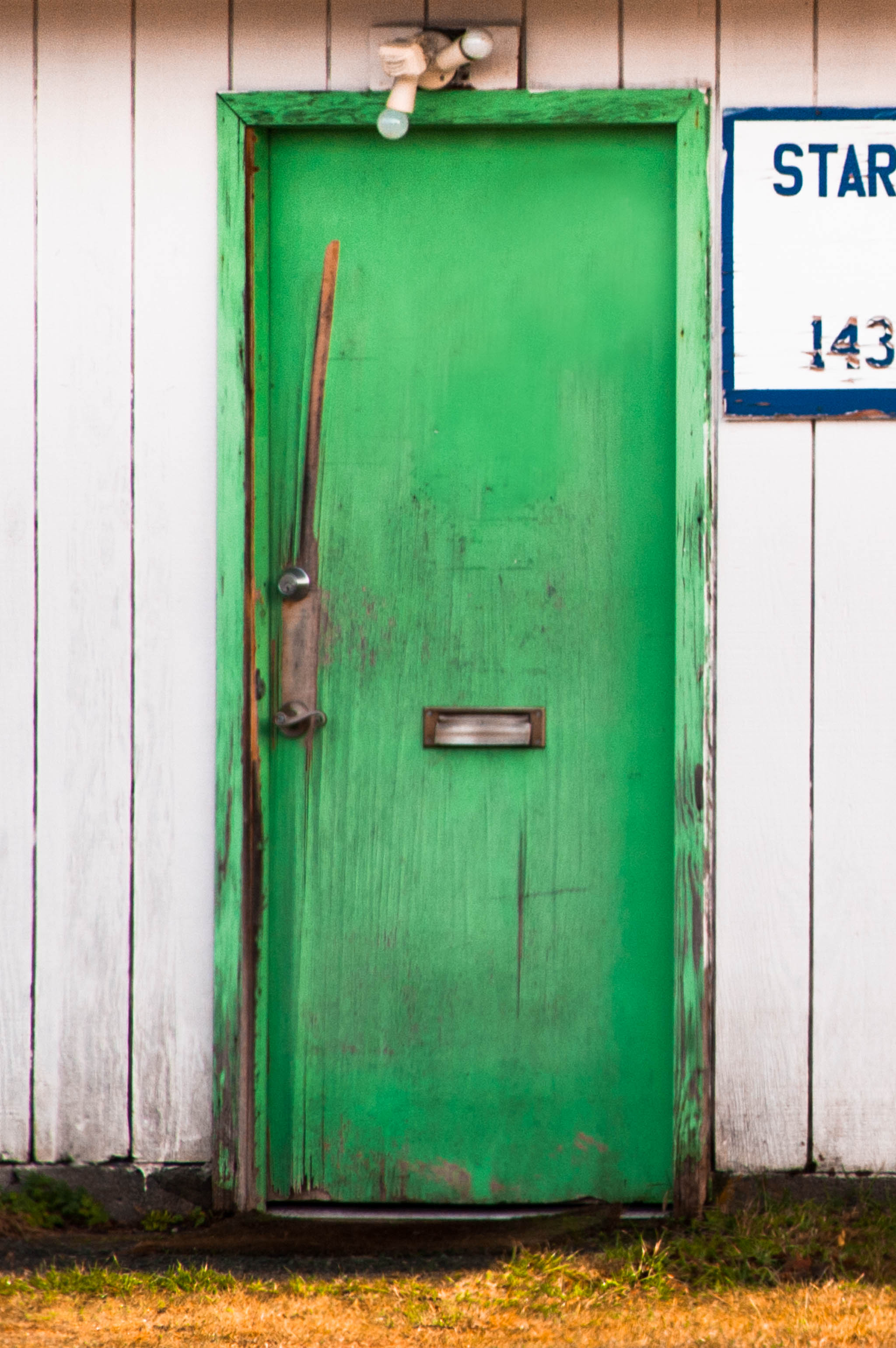 old painted green door