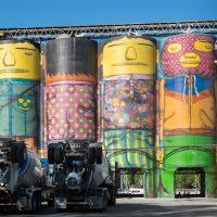 mural on concrete silos