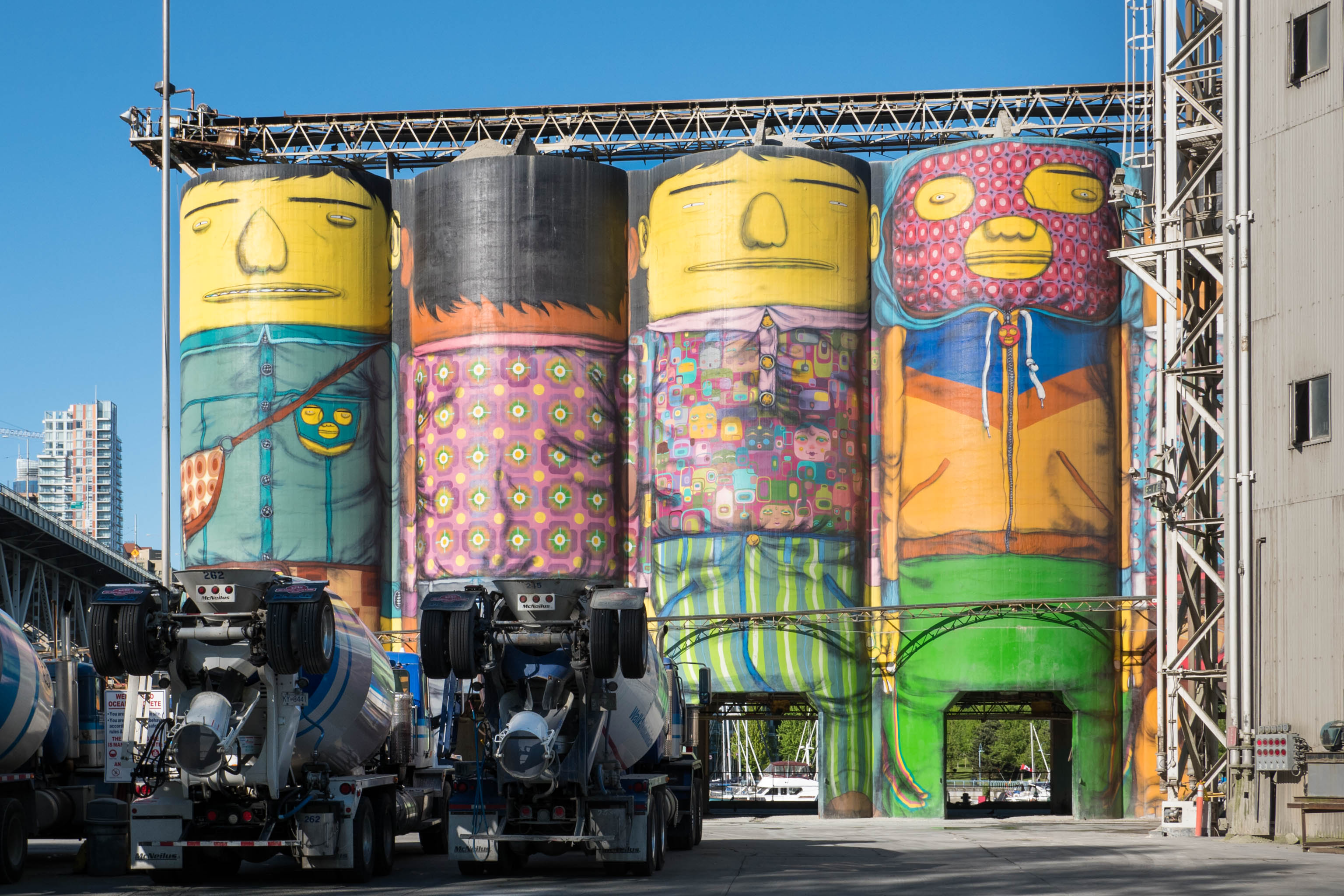 mural on concrete silos