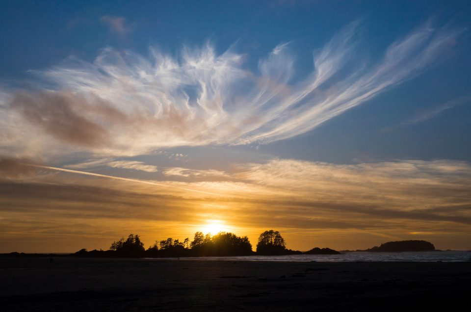 chesterman beach, frank island, landscapes, sunset, vancouver island